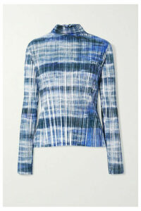 SemSem - Tie-dyed Plissé-lamé Turtleneck Top - Blue