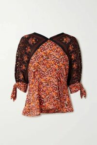 Altuzarra - Charity Tie-detailed Floral-print Silk Crepe De Chine Blouse - Brick