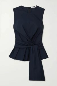 10 Crosby by Derek Lam - Pandora Tie-detailed Cotton-poplin Top - Navy