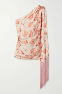 Mother of Pearl - + Net Sustain One-shoulder Fringed Floral-print Hammered-satin Top - Beige