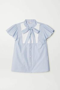 REDValentino - Pussy-bow Paneled Striped Cotton-blend Poplin Blouse - Light blue