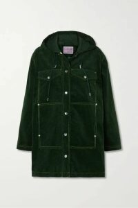 ALEXACHUNG - Cotton-corduroy Hooded Jacket - Dark green