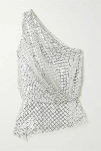 Michelle Mason - One-shoulder Sequined Mesh And Silk Top - Silver
