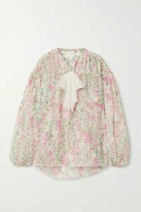 Giambattista Valli - Pussy-bow Floral-print Silk-chiffon Blouse - White