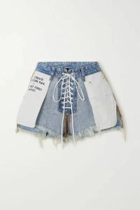 Unravel Project - Lace-up Printed Frayed Denim Shorts - Blue