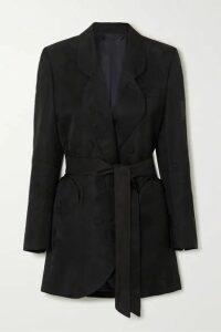 Blazé Milano - Sunshine Belted Double-breasted Floral-jacquard Mini Dress - Black