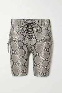 Unravel Project - Lace-up Snake-effect Leather Shorts - Beige