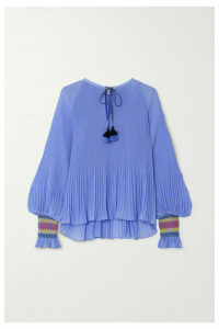 10 Crosby by Derek Lam - Helena Tie-neck Plissé-georgette Blouse - Blue