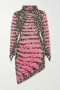 Maisie Wilen - Ruched Printed Stretch-jersey Turtleneck Mini Dress - Pink