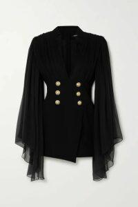 Balmain - Gathered Silk-chiffon And Crepe Mini Dress - Black