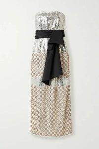 Carolina Herrera - Bow-detailed Embellished Silk Midi Dress - Ivory