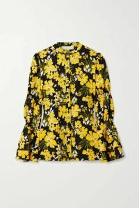 MICHAEL Michael Kors - Bold Bliss Floral-print Crepe Blouse - Yellow