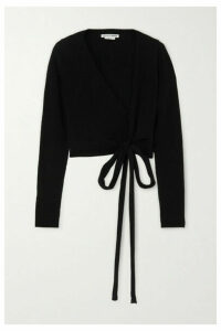 Reformation - + Net Sustain Cropped Ribbed Cashmere And Wool-blend Wrap Top - Black