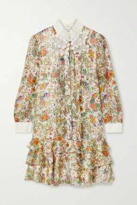 Tory Burch - Tiered Floral-print Metallic Silk-blend Chiffon Mini Dress - Ivory