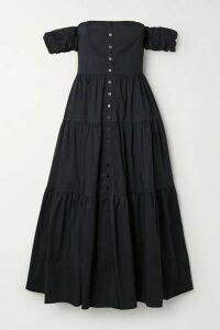 STAUD - Elio Off-the-shoulder Cotton-blend Midi Dress - Black