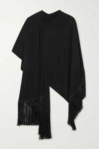 Matteau - Fringed Jersey Poncho - Black
