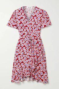 Diane von Furstenberg - Estrella Ruffled Floral-print Crepe De Chine Wrap Mini Dress - Blush