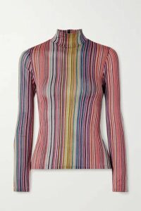 Beaufille - Mena Striped Stretch Jacquard-knit Turtleneck Top - Pink