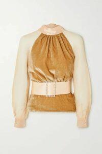 HARMUR - Open-back Belted Silk-blend Velvet And Tulle Blouse - Antique rose