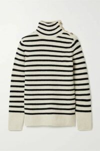 Tory Burch - Striped Wool And Cashmere-blend Turtleneck Sweater - Ivory