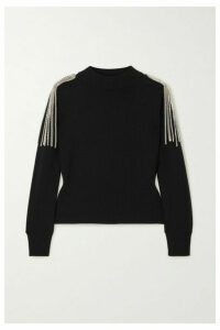 Christopher Kane - Cropped Chain-embellished Merino Wool Sweater - Black