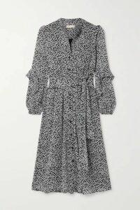 MICHAEL Michael Kors - Lilly Belted Ruffled Printed Crepe Midi Dress - Black