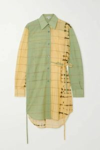 Loewe - Belted Checked Cotton-poplin And Cotton And Silk-blend Shirt - Green