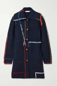 Tory Burch - Embroidered Fringed Cable-knit Wool Cardigan - Navy