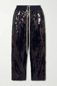 Rick Owens - Bela Cropped Sequined Cotton Pants - Black