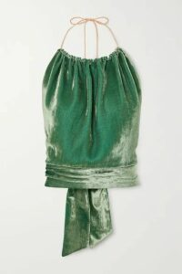 HARMUR - Open-back Silk-blend Velvet Halterneck Top - Green