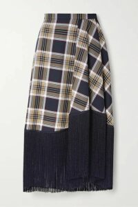 Rokh - Fringed Checked Twill Midi Skirt - Navy