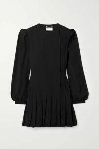 SAINT LAURENT - Pleated Crepe Mini Dress - Black