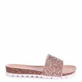 ELISA - Nude Slip On Slider With Heavy Diamante Embellishment & Cleated Sole