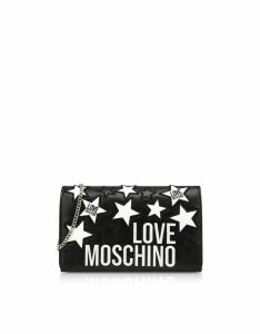 Love Moschino Designer Handbags, Synthetic Leather Stars Evening Bag