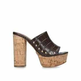 Kurt Geiger London Bree - Brown Croc Print Cork Heel Platform Sandals
