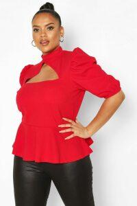 Womens Plus Choker Cut Out Puff Sleeve Peplum Top - red - 28, Red