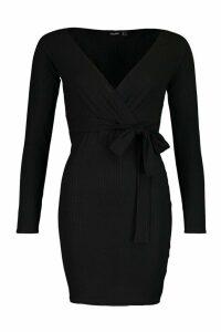 Womens Rib Wrap Off The Shoulder Belted Mini Dress - black - 12, Black
