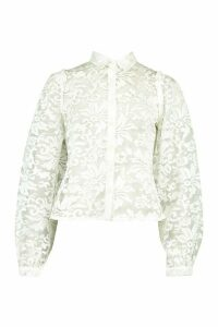 Womens Organza Oversized Sleeve Shirt - white - 10, White