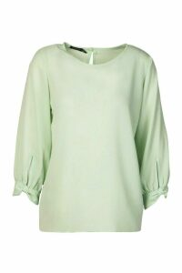 Womens Bow Sleeve Woven Blouse - green - 12, Green
