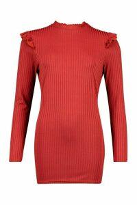Womens Ruffle Shoulder Long Sleeve Rib Tunic - Orange - 12, Orange