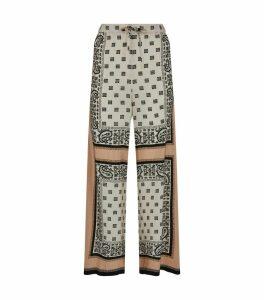 Silk Paisley Wide-Leg Trousers