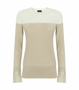 Cashmere-Silk Two-Tone Sweater