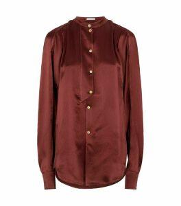 Marianna Silk Collarless Shirt