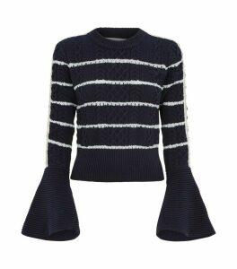 Flute Sleeve Stripe Sweater