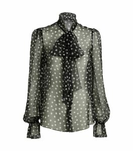 Sheer Polka-Dot Blouse