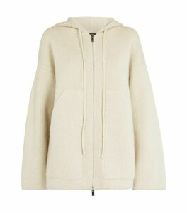 Oversized Wool-Cashmere Zip-Up Hoodie