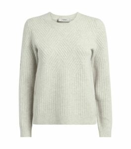 Diamond-Ribbed Cashmere-Wool Sweater