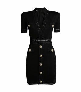 Button-Embellished Knit Dress