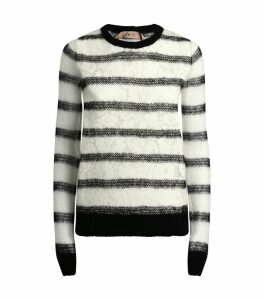 Stripe Lace-Panel Sweater