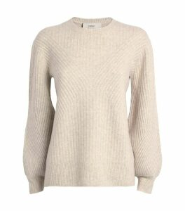 Ribbed Blouson-Sleeve Sweater